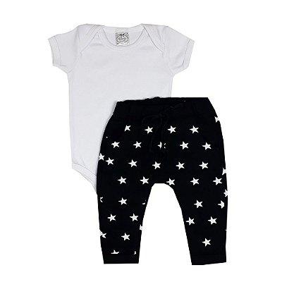Conjunto Bebê Body Branco + Calça Estrela Preta