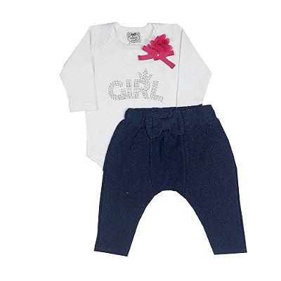 Conjunto Bebê Body Girl Com Flor + Calça Saruel Jeans