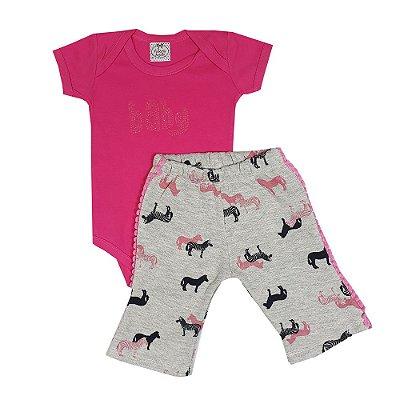 Conjunto Bebê Zebra Rosa