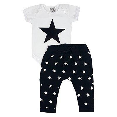 Conjunto Bebê Estrelas Branco
