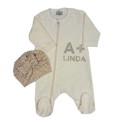 Macacão Bebê A + Linda De Plush Com Turbante