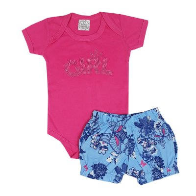 Conjunto Bebê Body Girl Rosa + Shorts Floral