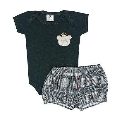 Conjunto Bebê Body Boy Verde + Shorts Xadrez