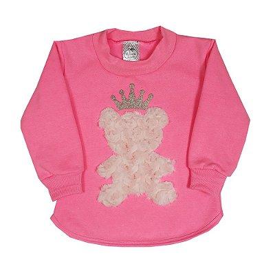 Casaco Infantil Urso Rosa Fluorescente