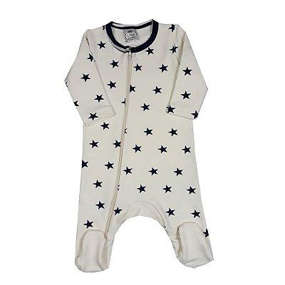 Macacão Bebê Estrelas Off White