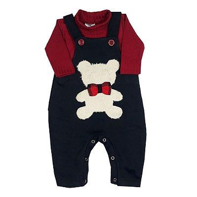 Jardineira Bebê Urso Chic + Blusa de Gola Rolê