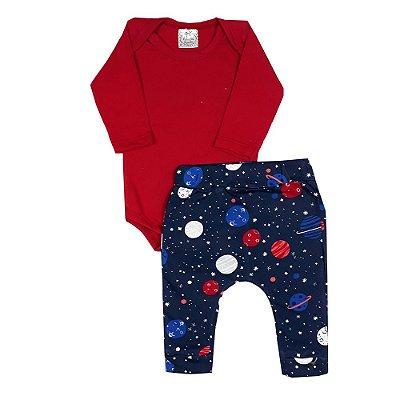 Conjunto Bebê Body Vermelho + Calça Universo