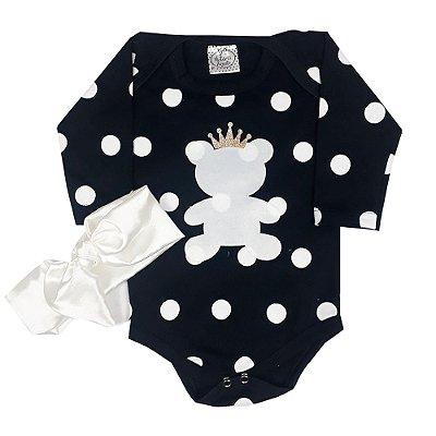 Body Bebê Bola Branco + Turbante