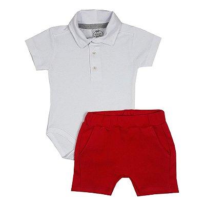Conjunto Bebê Body Polo Branco + Bermuda Vermelha