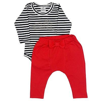 Conjunto Bebê Body Listrado + Calça Saruel Vermelha