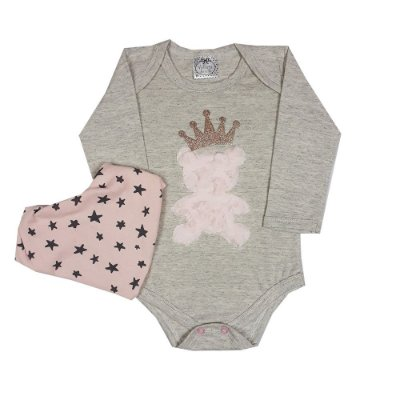 Body Bebê Mescla Com Urso Rosa + Bandana Estrela