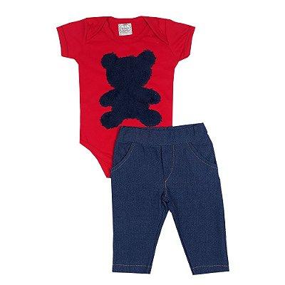 Conjunto Bebê Body Urso Vermelho + Calça Jeans