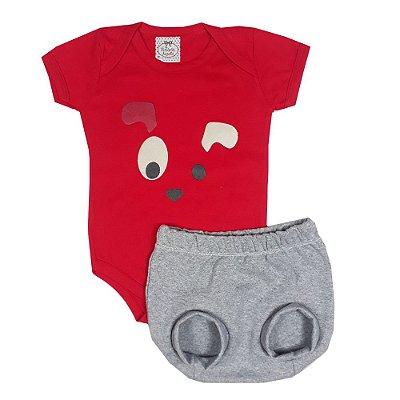 Conjunto Bebê Body Cachorro + Shorts Bola