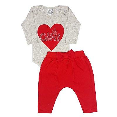 Conjunto Bebê Coração Vermelho