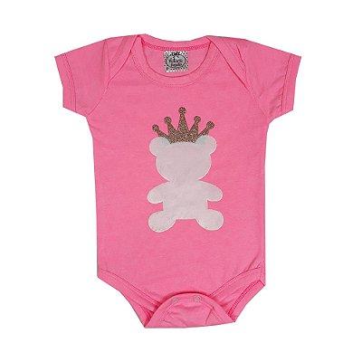 Body Bebê Urso Rosa Neon