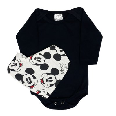 Body Bebê Body Preto + Bandana Mickey