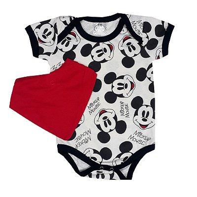Body Bebê Mickey + Bandana Vermelha