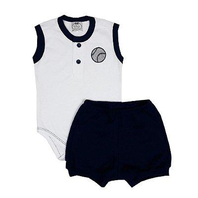 Conjunto Bebê Body Regata + Shorts Azul Marinho