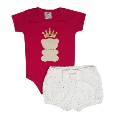Conjunto Bebê Body Urso + Shorts Lesie