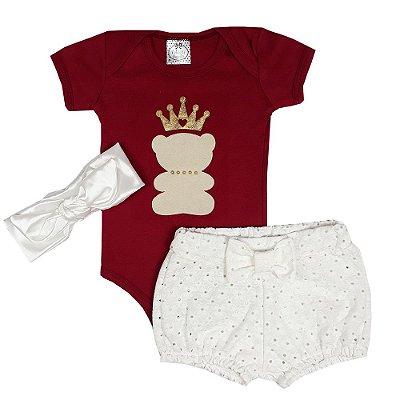 Conjunto Bebê Body Urso Vermelho + Shorts Lesie + Turbante