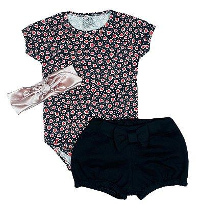 Conjunto Bebê Body Coraçãozinho + Shorts E Turbante
