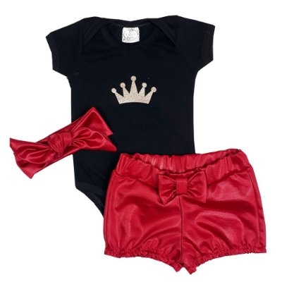 Conjunto Bebê Body Preto Coroa + Shorts De Courino + Turbante