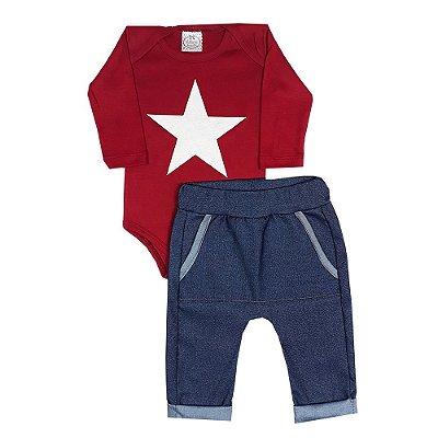 Conjunto Bebê Body Estrela + Calça Saruel Jeans