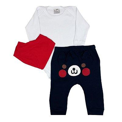 Conjunto Bebê Body Branco + Calça Com Aplique + Bandana Vermelha