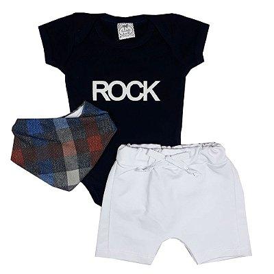 Conjunto Bebê Body Rock Azul Marinho + Bermuda Saruel + Bandana