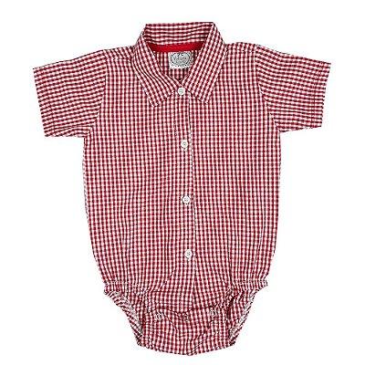 Body Bebê Tecido Xadrez Vermelho