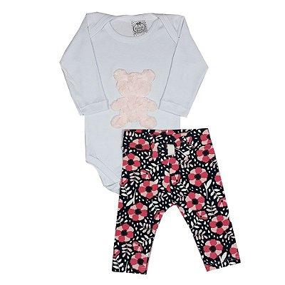 Conjunto Bebê Body Urso Rosa + Calça Flores