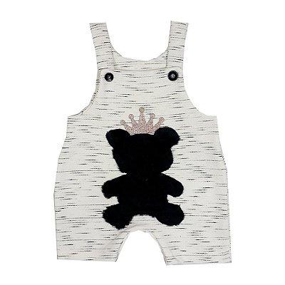 Jardineira Bebê Urso Preto