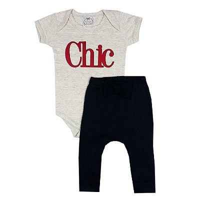 Conjunto Bebê Body Chic + Calça Saruel Preta