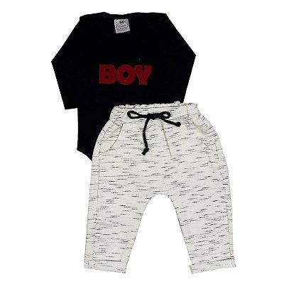 Conjunto Bebê Body Boy + Calça Saruel Off White
