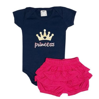 Conjunto Bebê Body Princess Azul Marinho + Shorts Bunda Rica
