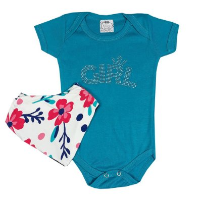 Body Bebê Girl Azul Turquesa + Bandana