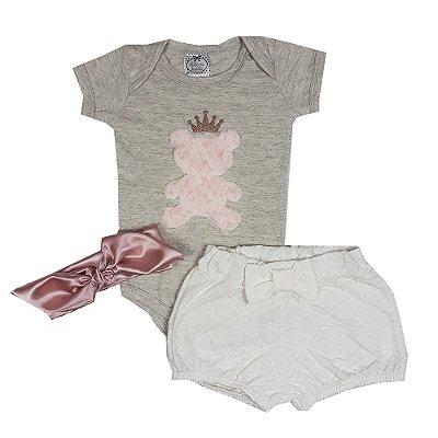 Conjunto Bebê Body Urso + Shorts + Turbante
