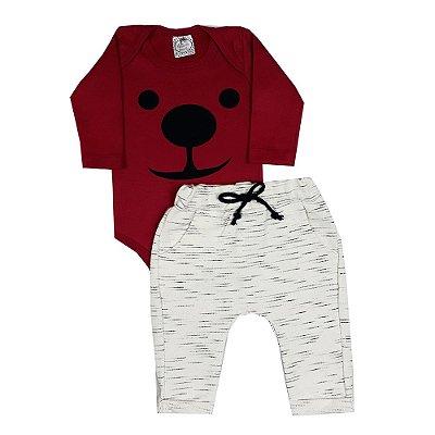 Conjunto Bebê Body Dog Vermelho + Calça Saruel