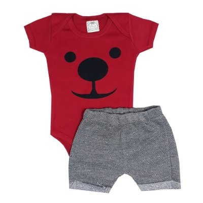 Conjunto Bebê Body Cachorro Vermelho + Bermuda Saruel