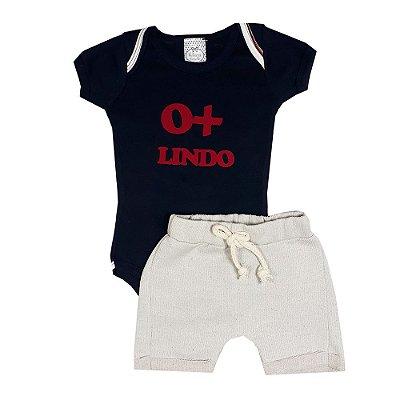 Conjunto Bebê Body O+ Lindo Azul Marinho Com Bermuda Saruel