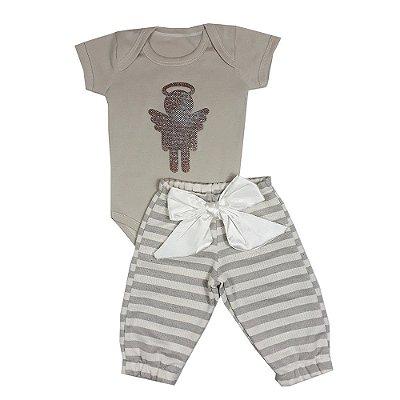 Conjunto Bebê Body Anjo + Calça Listrada