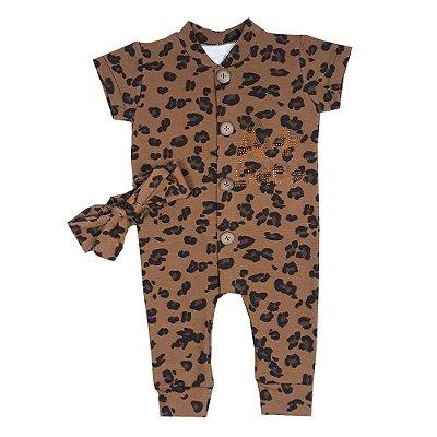 Macacão Bebê Onça + Turbante