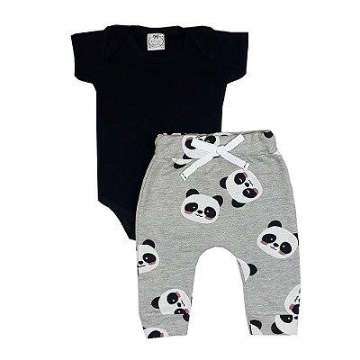 Conjunto Bebê Body Preto + Calça Saruel Panda
