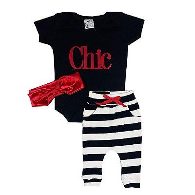 Conjunto Bebê Chic Listrado Com Turbante