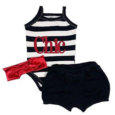 Conjunto Bebê Body Chic + Shorts + Turbante