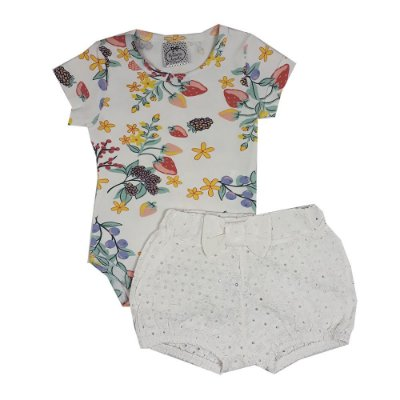 Conjunto Bebê Body Flores + Shorts Lesie