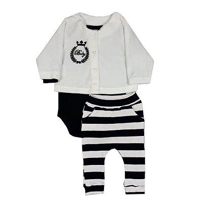 Conjunto Bebê Casaco + Body Preto + Calça Listrada