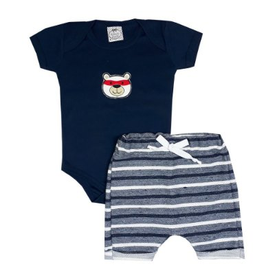 Conjunto Bebê Body Urso Azul Marinho + Bermuda Saruel Listrada