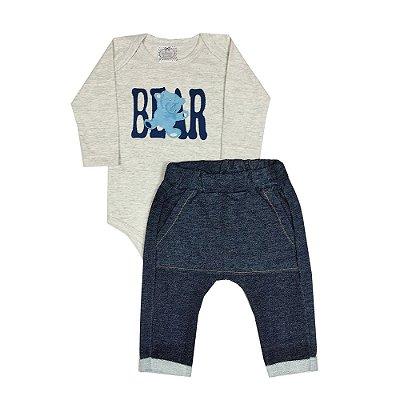 Conjunto Bebê Body Mescla Bear + Calça Saruel Jeans