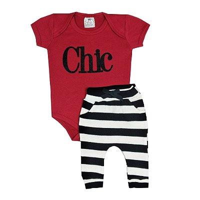 Conjunto Bebê Body Chic + Calça Listrada